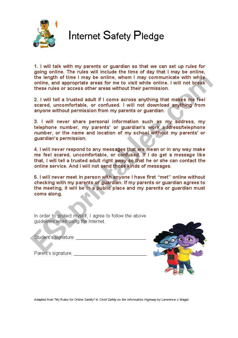 Internet Safety Worksheets Printable Internet Safety Pledge Esl Worksheet by Doroteia F