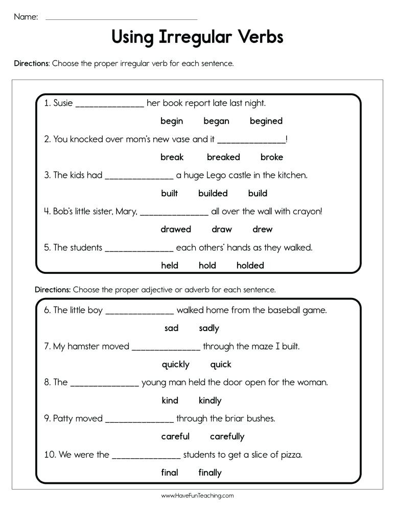Irregular Verbs Worksheet 2nd Grade Action Verb Worksheets 2nd Grade – Keepyourheadup