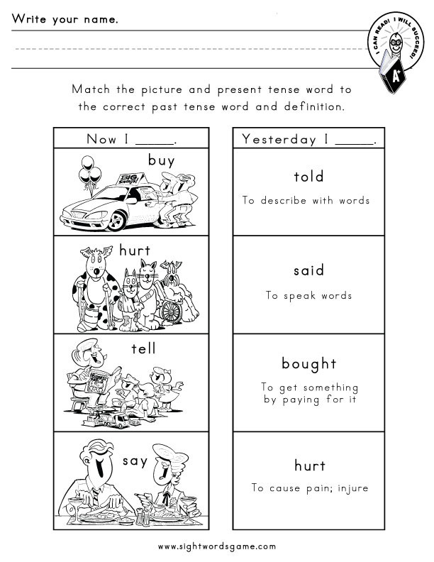 Irregular Verbs Worksheet 2nd Grade Mon Irregular Verbs Sight Words Reading Writing