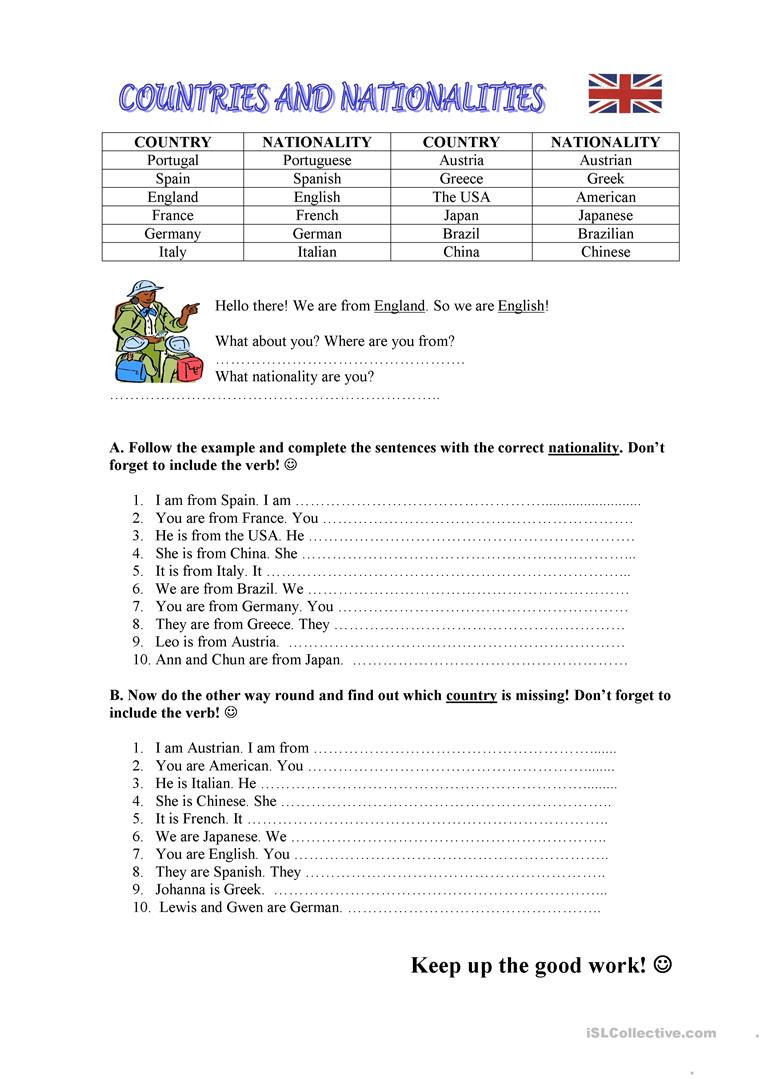 Japanese Worksheets for Beginners Printable Countries Nationalities English Esl Worksheets for