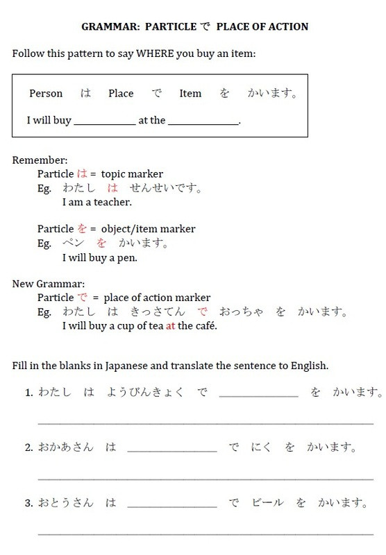 Japanese Worksheets for Beginners Printable Particles Japanese Teaching Ideas