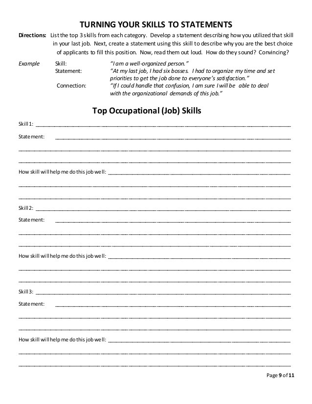Job Readiness Printable Worksheets Job Skills Discovery Worksheet Using Onet Skills Id