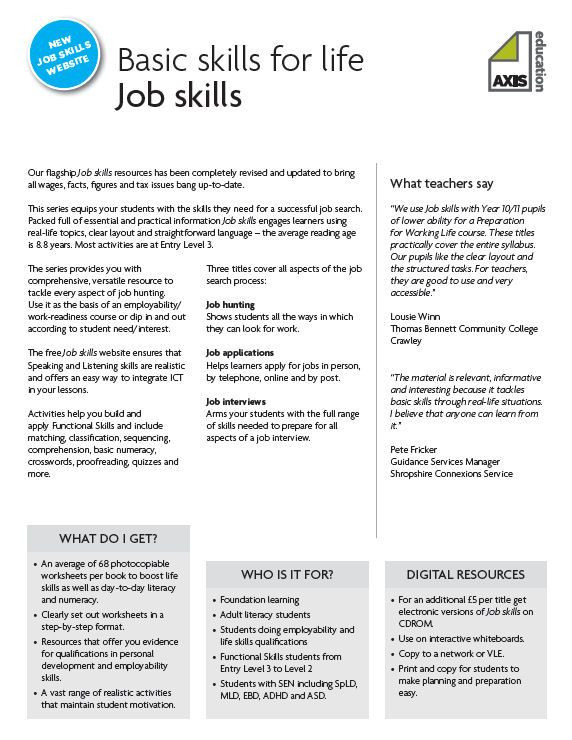 Job Readiness Printable Worksheets Selection Worksheets From Axis Education Job Skills