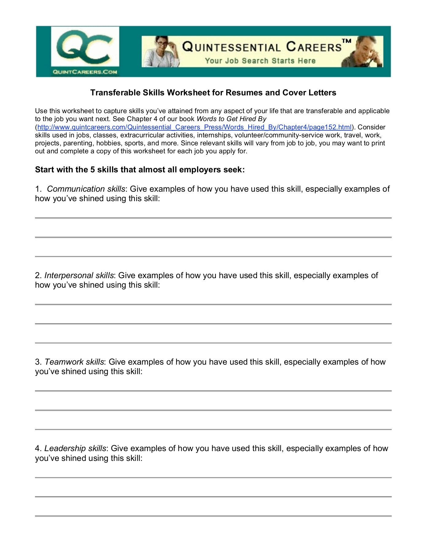 Job Readiness Printable Worksheets Skills Worksheet