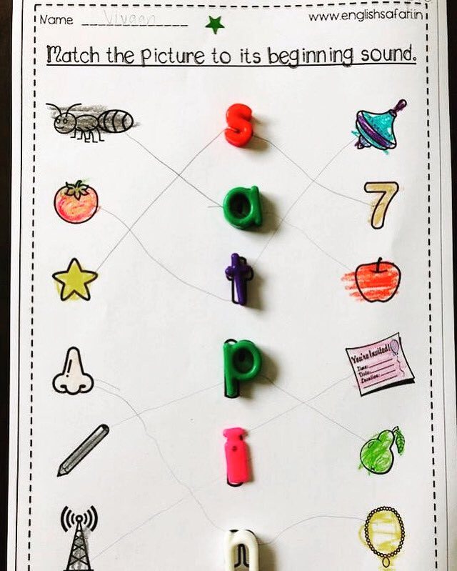 "Jolly Phonics Worksheets for Kindergarten Englishsafari On Twitter ""free Beginning sound Match for"