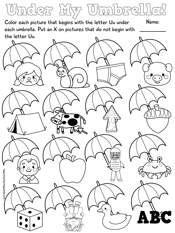 Jolly Phonics Worksheets for Kindergarten Letter U