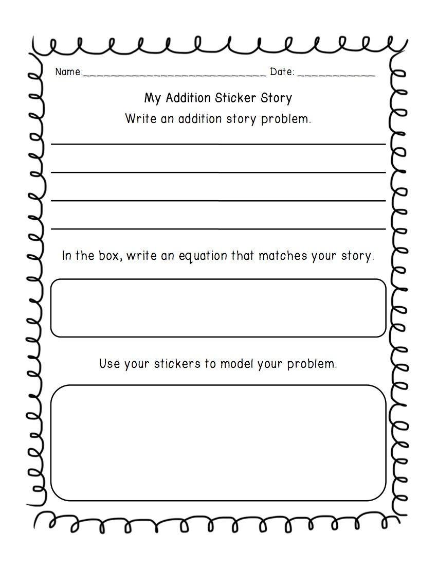 Kindergarten Addition Word Problems Worksheets Addition & Subtraction Write A Word Problem Worksheet