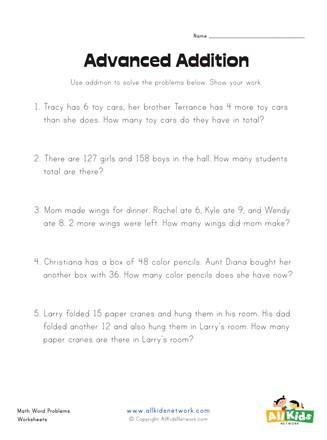 Kindergarten Addition Word Problems Worksheets Addition Word Problems Worksheet