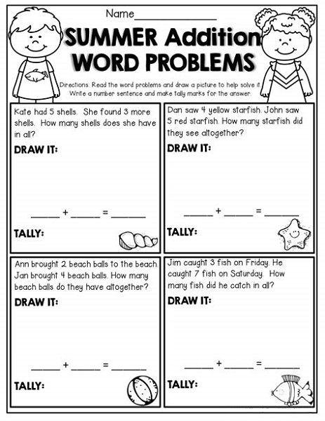 Kindergarten Addition Word Problems Worksheets Picture Word Problems