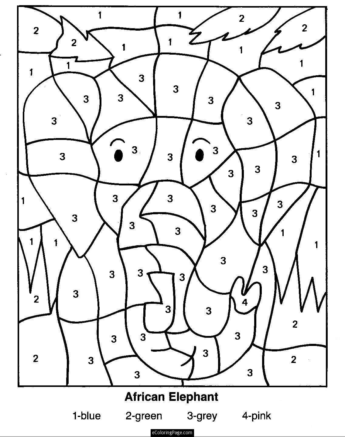 Kindergarten Color by Number Worksheets Color by Numbers Elephant Coloring Pages for Kids Printable