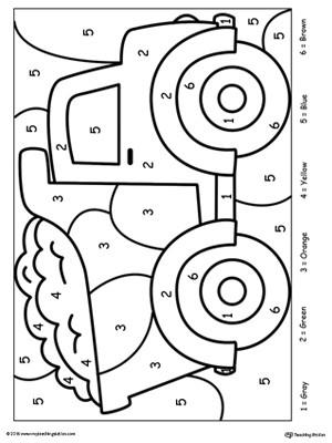 Kindergarten Color by Number Worksheets Kindergarten Color by Number Printable Worksheets