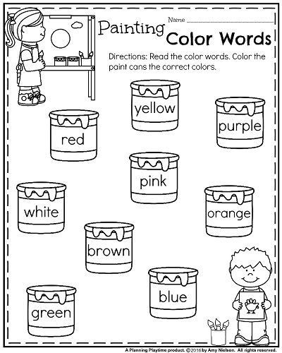 Kindergarten Color Words Worksheets Back to School Kindergarten Worksheets