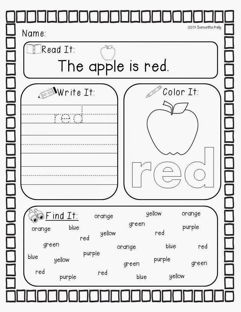 Kindergarten Color Words Worksheets Crazy for Colors