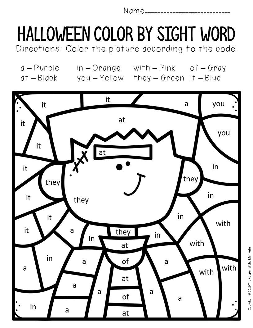 Kindergarten Color Words Worksheets Frankenstein Color by Sight Word Halloween Kindergarten
