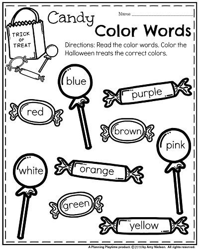 Kindergarten Color Words Worksheets October Kindergarten Worksheets มีรูปภาพ