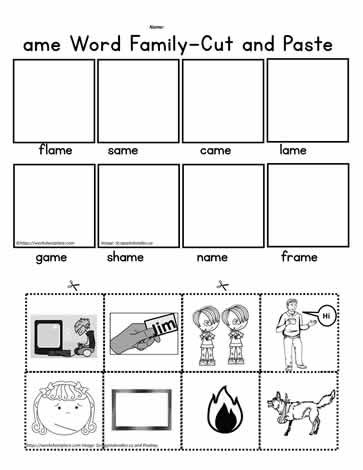 Kindergarten Cut and Paste Worksheets Ame Words Cut and Paste Worksheets