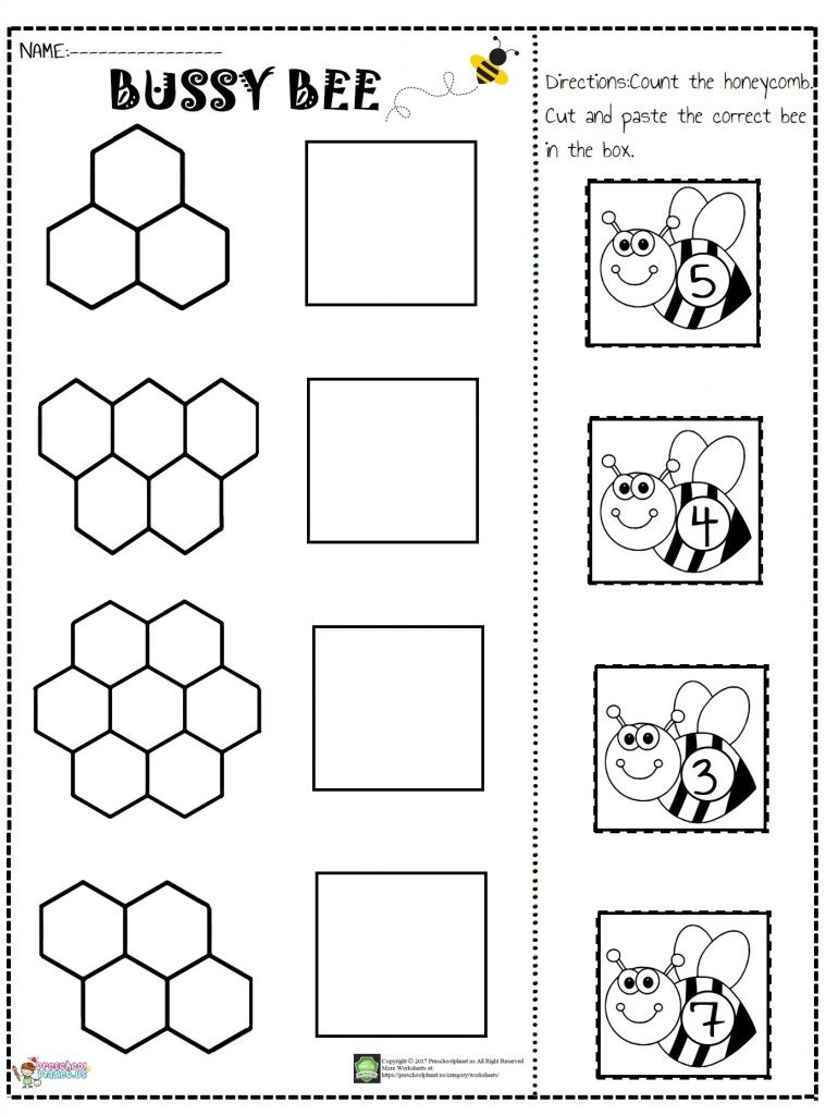 Kindergarten Cut and Paste Worksheets Bee Number Cut and Paste Worksheet – Preschoolplanet