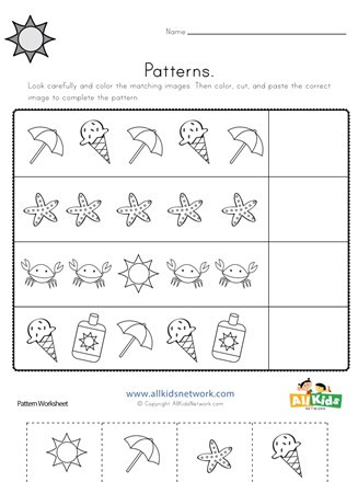 Kindergarten Cut and Paste Worksheets Summer Cut and Paste Patterns Worksheet