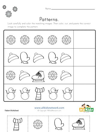 Kindergarten Cut and Paste Worksheets Winter Cut and Paste Patterns Worksheet