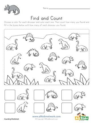 Kindergarten Dinosaur Worksheets Dinosaur Find and Count Worksheet