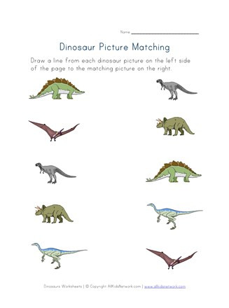 Kindergarten Dinosaur Worksheets Dinosaurs Matching Worksheet