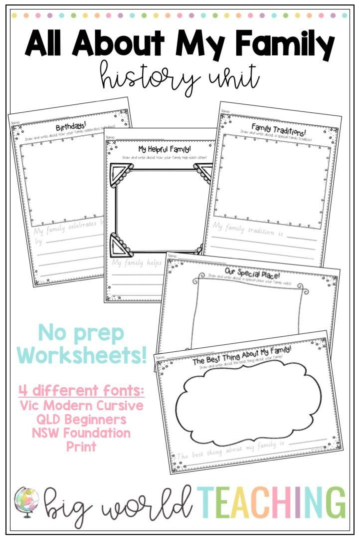 Kindergarten History Worksheets All About My Family Unit Worksheets & Family Tree Pack