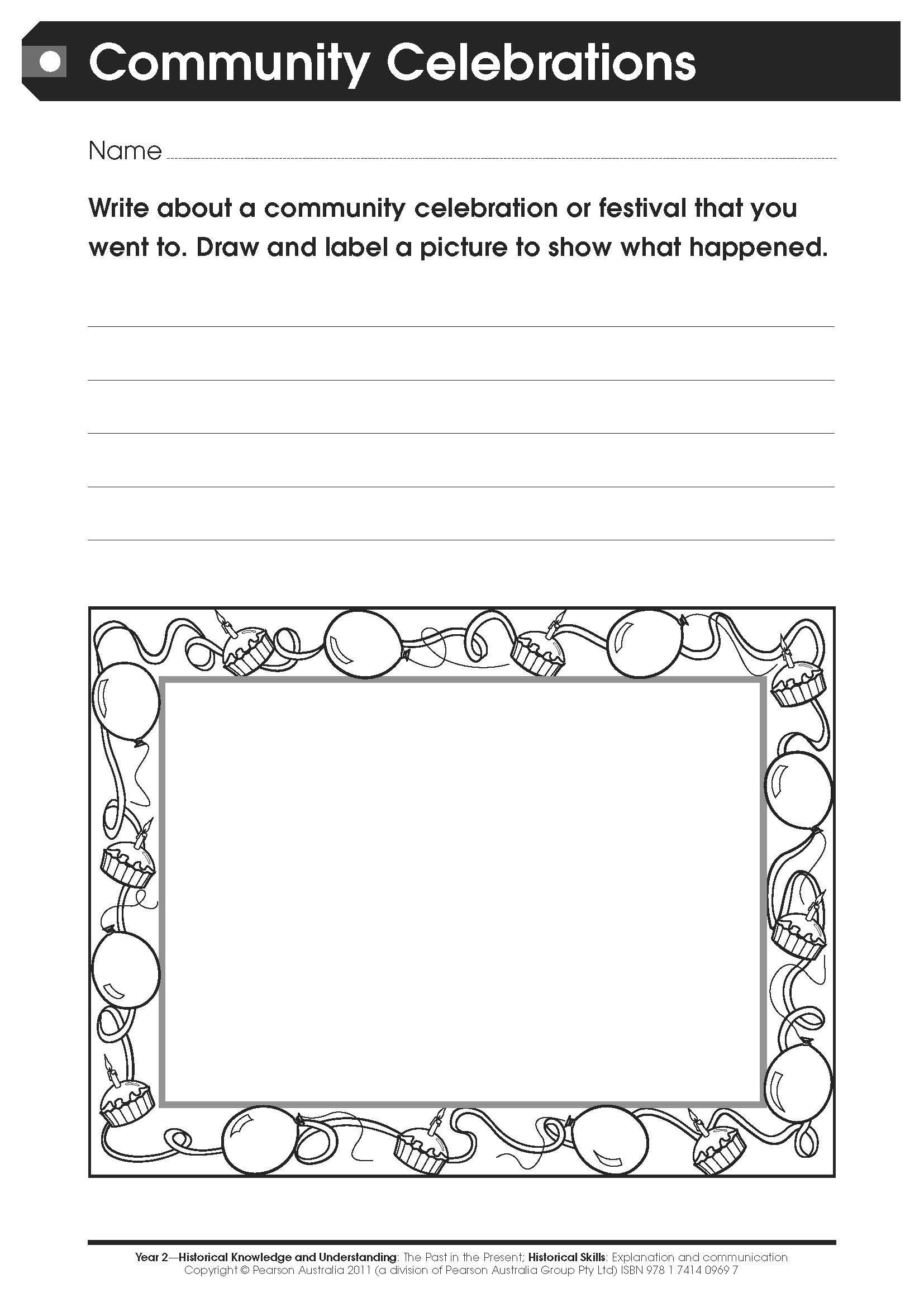 Kindergarten History Worksheets Free Worksheet Munity Celebrations for Lower Primary