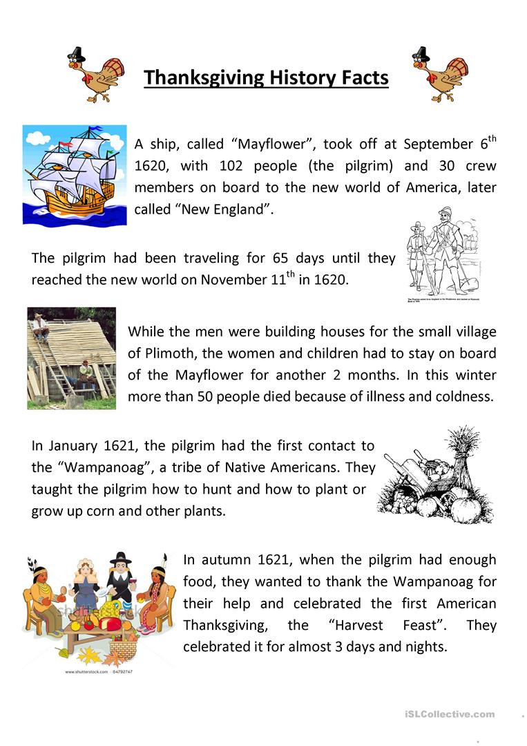 Kindergarten History Worksheets Teaching Thanksgiving History English Esl Worksheets for