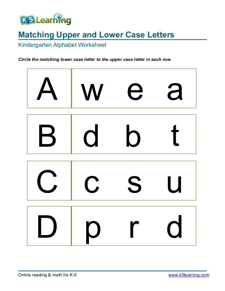 Kindergarten Lowercase Letters Worksheets Kindergarten Matching Letters A B C D