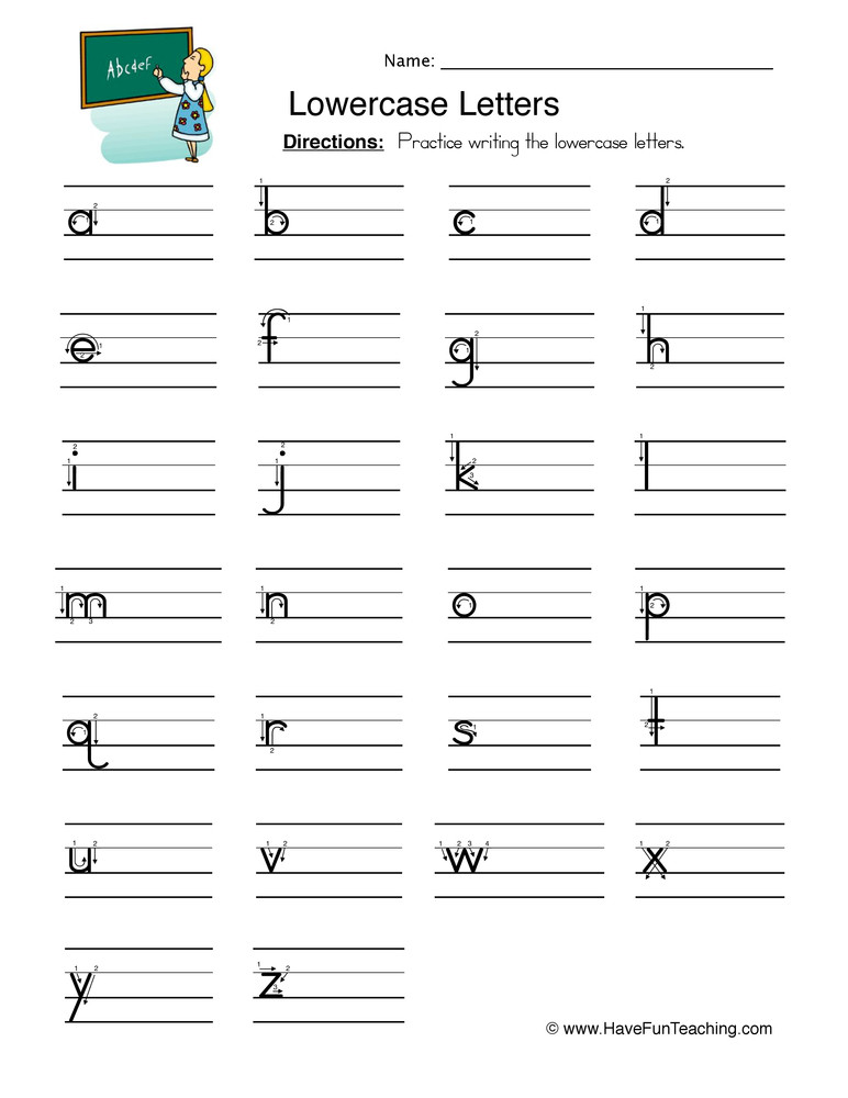 Kindergarten Lowercase Letters Worksheets Lowercase Letters Writing Worksheet