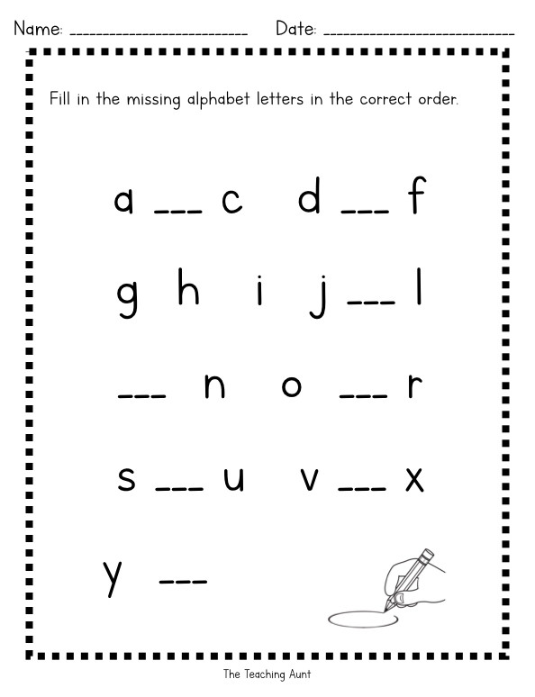Kindergarten Lowercase Letters Worksheets Missing Lowercase Letters Worksheets the Teaching Aunt