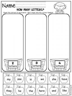 Kindergarten Math sorting Worksheets How Many Letters Fall Apple sorting