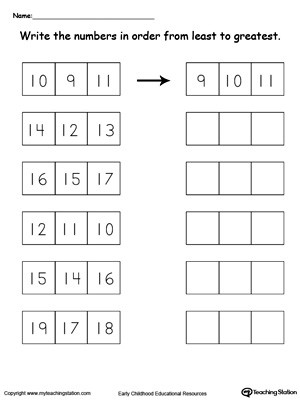 Kindergarten Math sorting Worksheets Least to Greatest Number sorting 10 Through 19