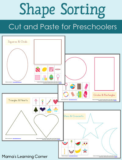 Kindergarten Math sorting Worksheets Shape sorting Worksheet Packet Mamas Learning Corner
