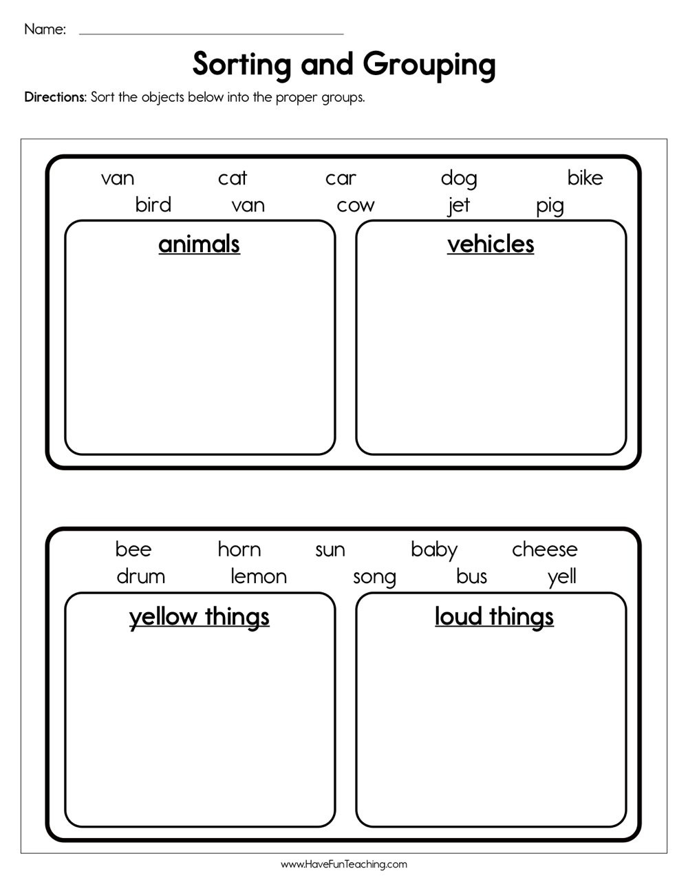 Kindergarten Math sorting Worksheets sorting and Grouping Worksheet