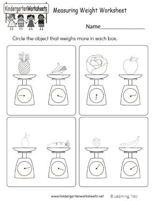 Kindergarten Measurement Worksheets Early Learning Measuring Weight Practice Worksheet
