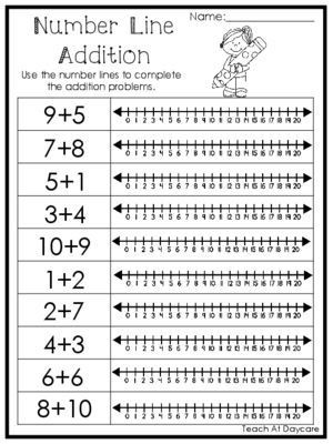 Kindergarten Number Line Worksheets 15 Number Line Addition Printable Worksheets Prek 1st Grade