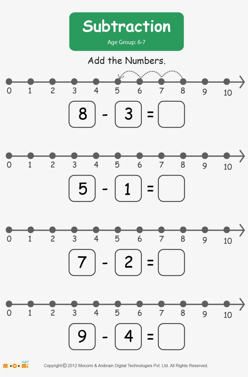 Kindergarten Number Line Worksheets Subtraction Worksheet for Kids Worksheets Learn More