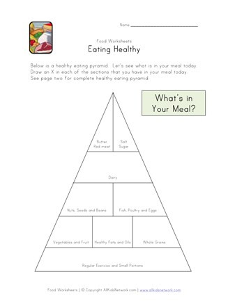 Kindergarten Nutrition Worksheets Eating Healthy Food Pyramid Worksheet