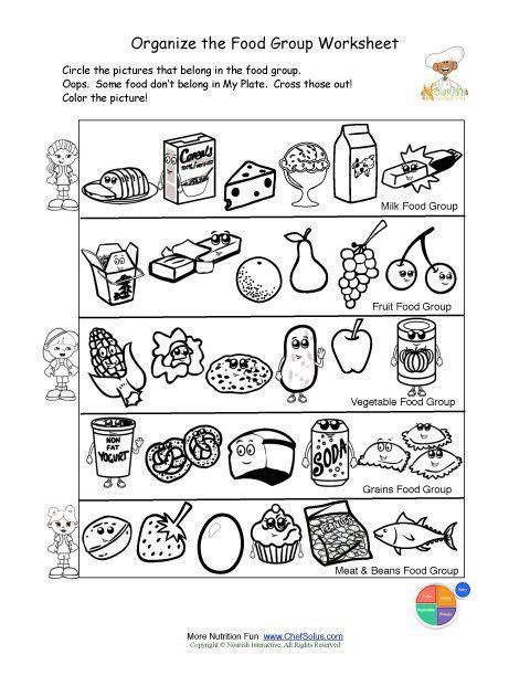 Kindergarten Nutrition Worksheets Free Food Groups Printable Nutrition Education Worksheet