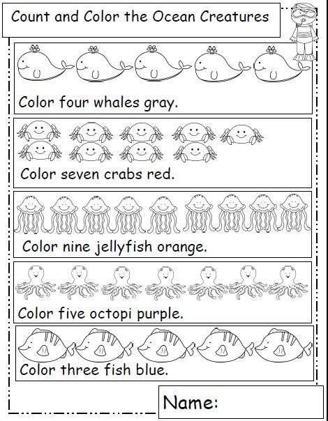 Kindergarten Ocean Worksheets Let S Learn S More Ocean Animals
