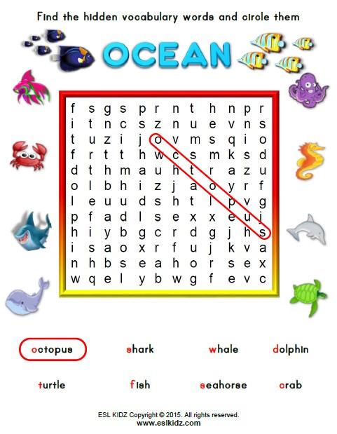 Kindergarten Ocean Worksheets Ocean Activities Games and Worksheets for Kids