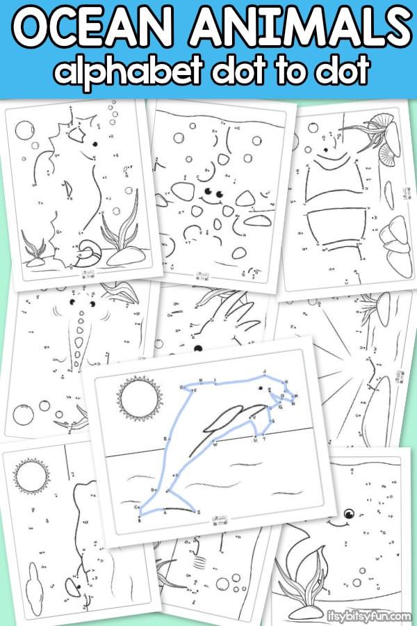 Kindergarten Ocean Worksheets Ocean Animals Alphabet Dot to Dot Worksheets Itsy Bitsy Fun