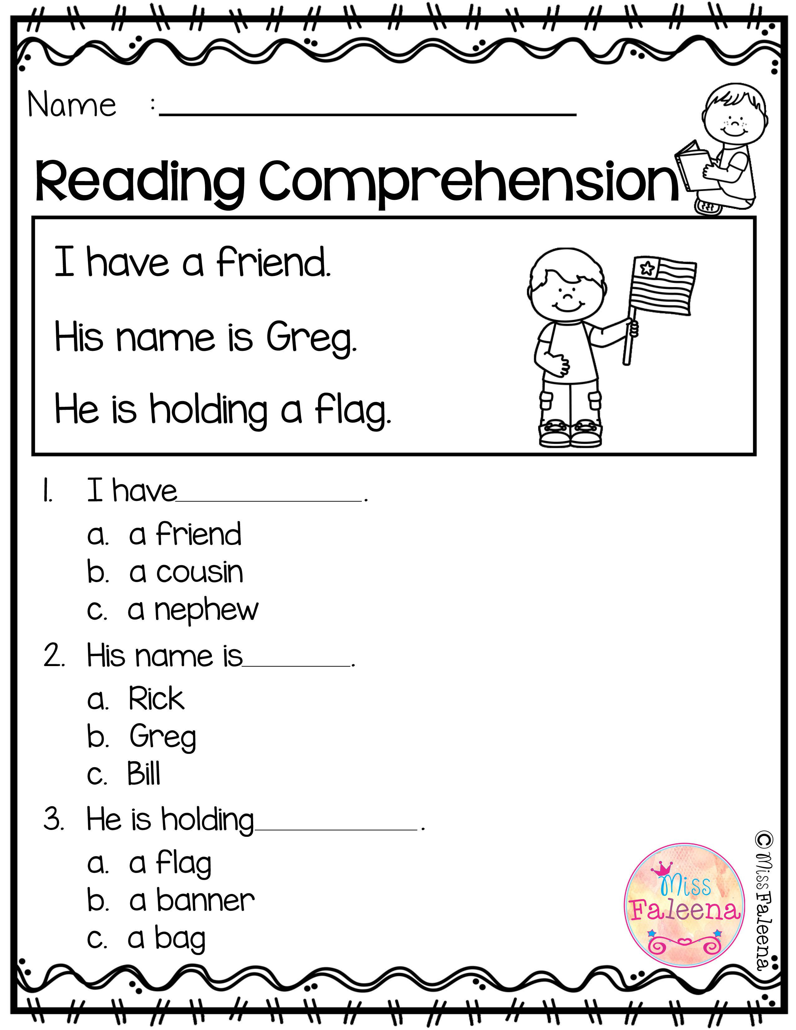 Kindergarten Reading Comprehension Worksheets Free Reading Prehension with Images