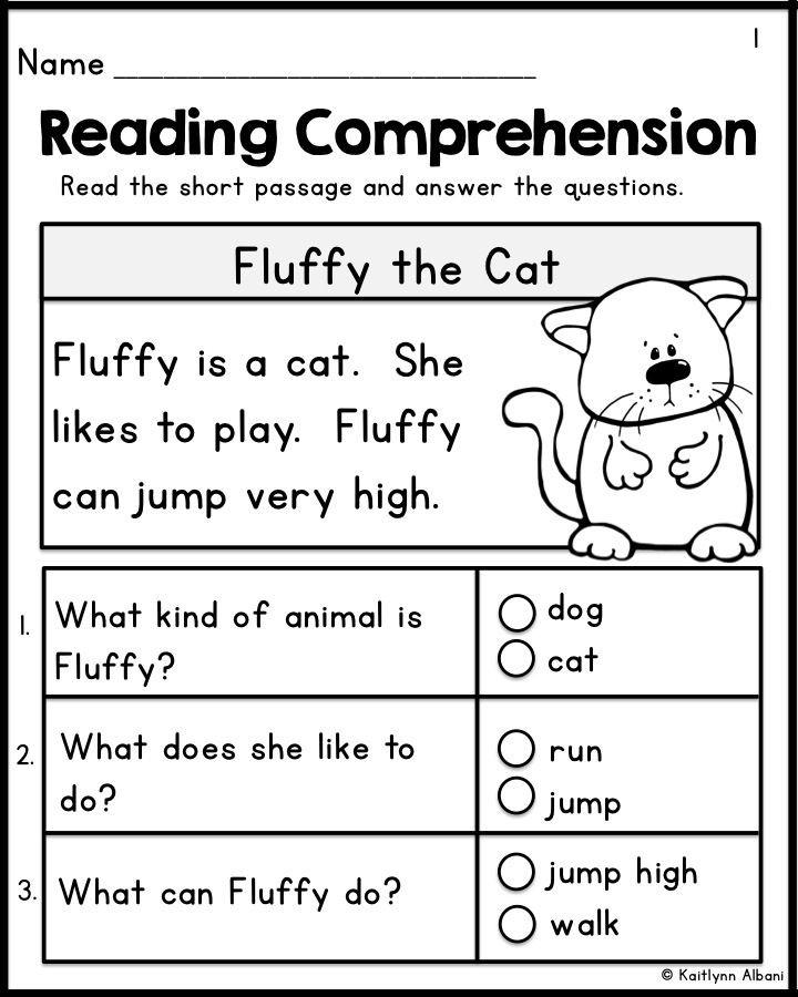 Kindergarten Reading Comprehension Worksheets Kindergarten Reading Prehension Passages Set 1 Freebie