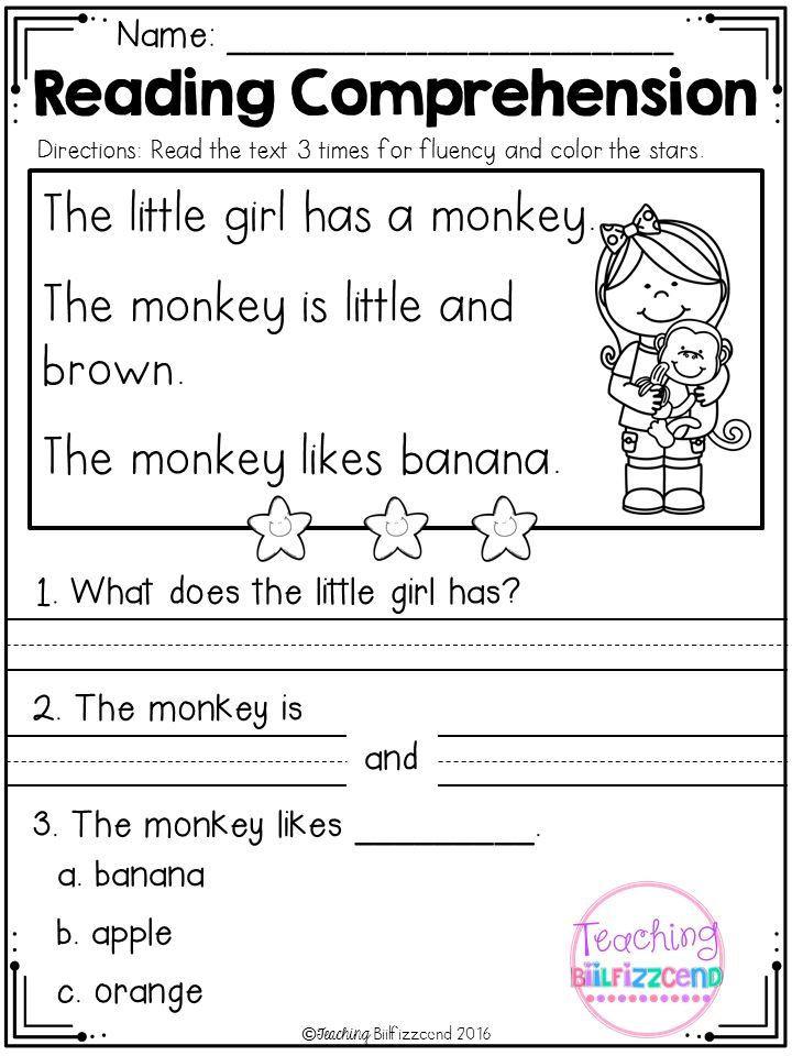 Kindergarten Reading Comprehension Worksheets Kindergarten Reading Prehension Set 1 มีรูปภาพ