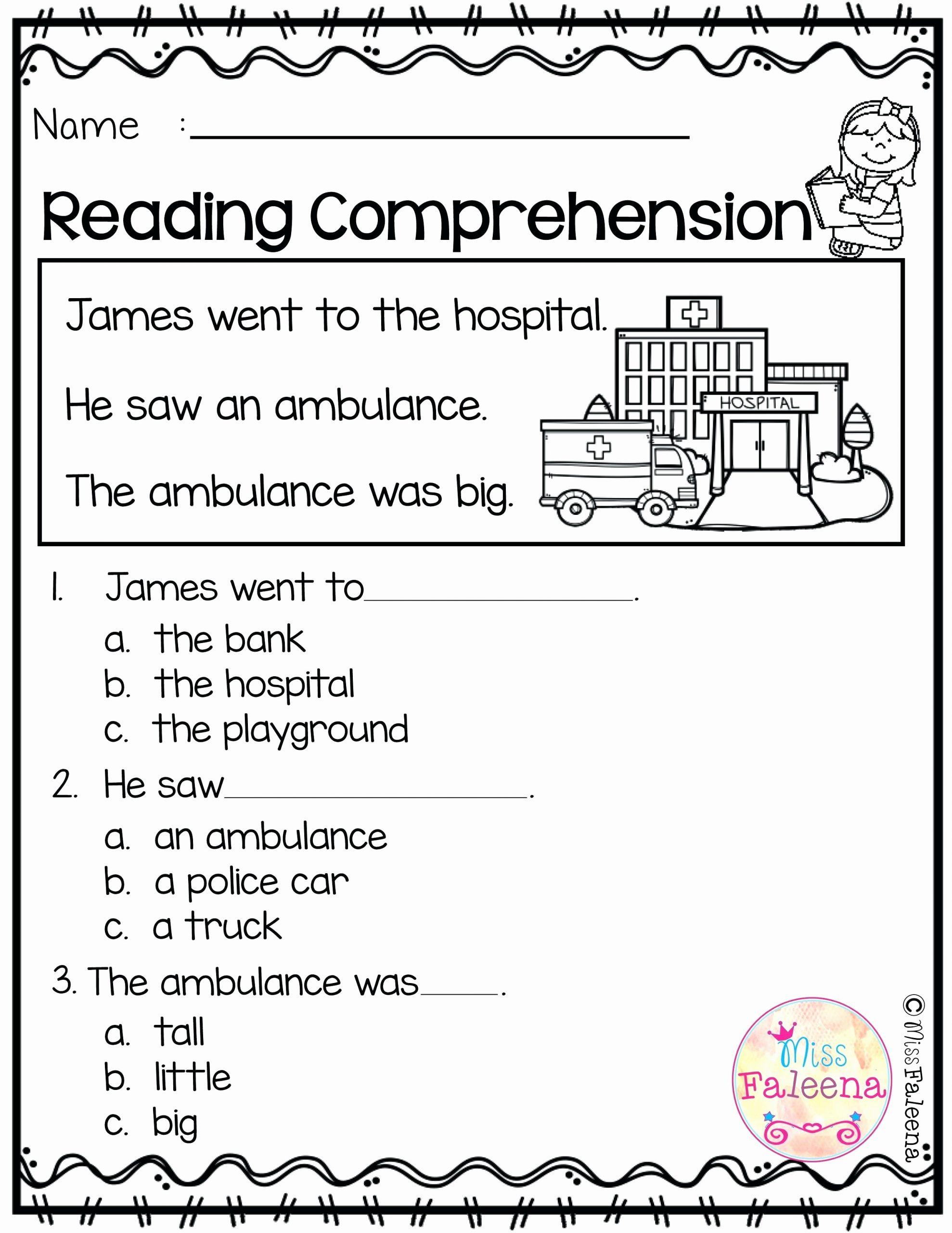Kindergarten Reading Comprehension Worksheets Learn Line Kindergarten Grade Reading Worksheets