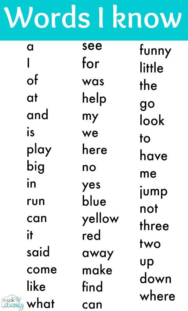 Kindergarten Reading Worksheets Sight Words Free Kindergarten Sight Word List Print It