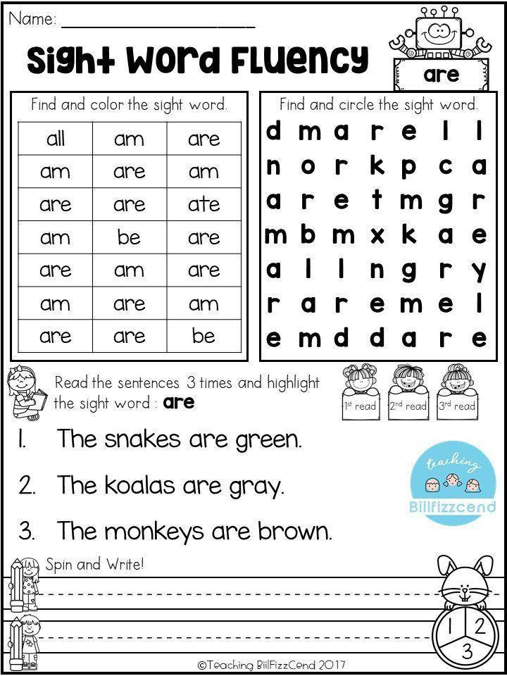 Kindergarten Reading Worksheets Sight Words Free Sight Word Fluency Activities