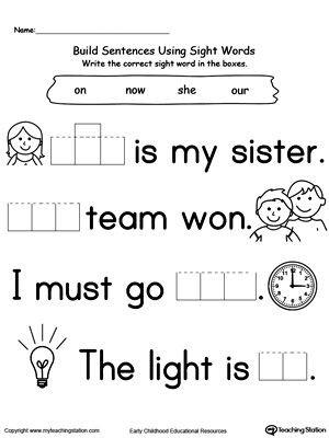 Kindergarten Reading Worksheets Sight Words Preschool and Kindergarten Worksheets